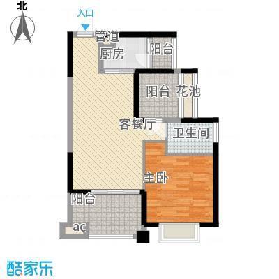 龙光天悦龙庭75.00㎡F1户型1室2厅1卫1厨