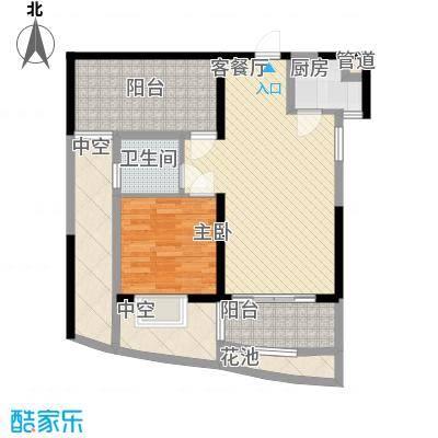 龙光天悦龙庭72.30㎡F4户型1室2厅1卫1厨