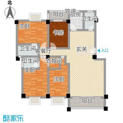 顺景蔷薇山庄四期146.60㎡B户型4室2厅3卫1厨