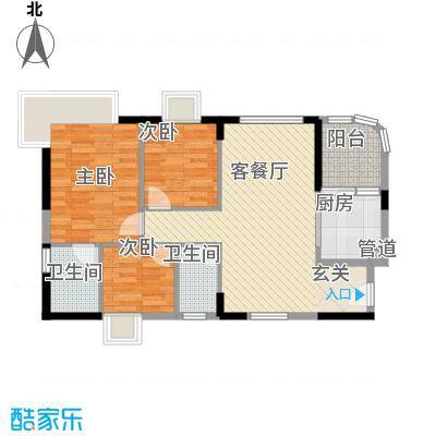 顺景蔷薇山庄四期88.11㎡第50栋3-16层0户型3室1厅2卫1厨