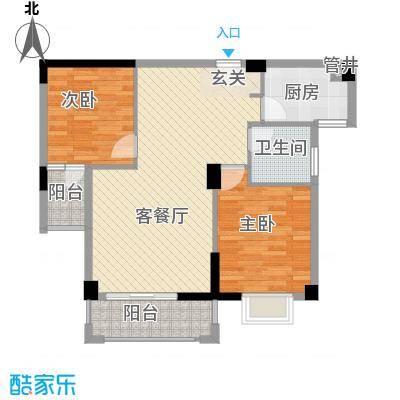 杏北新城锦园居住区85.70㎡U2型户型2室1厅1卫1厨