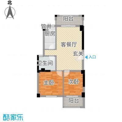 杏北新城锦园居住区76.00㎡S3型户型2室1厅1卫1厨