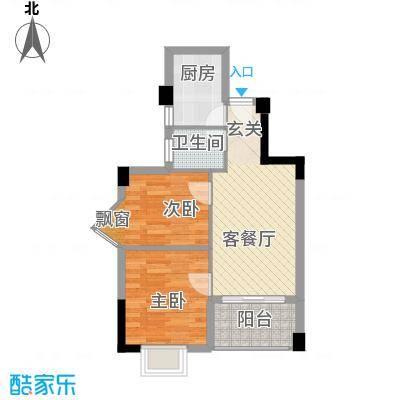 杏北新城锦园居住区55.75㎡N型户型2室1厅1卫1厨