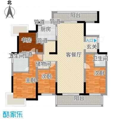�泊湾18.00㎡一期标准层C户型4室2厅3卫1厨