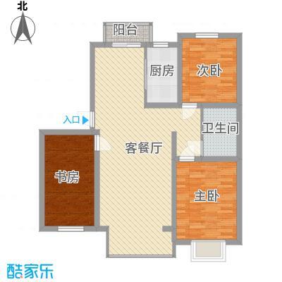 滨河湾115.50㎡户型3室2厅1卫1厨