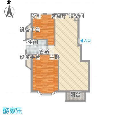 宏都筑景85.33㎡B1号、B2号楼C户型2室2厅1卫1厨