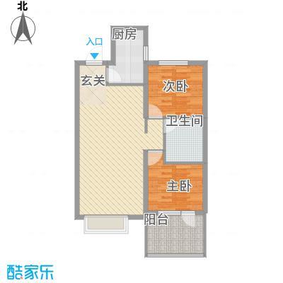 博辉万象城1.56㎡3#B户型2室1厅1卫1厨