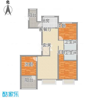 博辉万象城124.38㎡4#E户型3室2厅2卫1厨