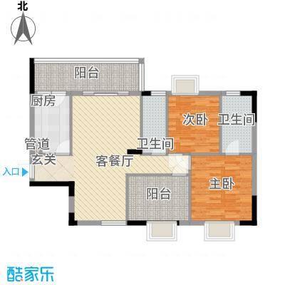 新长江顺心居1栋1、2、3座02户型2室2厅2卫1厨