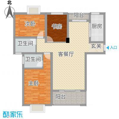 大云雅苑121.65㎡A1幢标准层01、03户型3室2厅2卫1厨