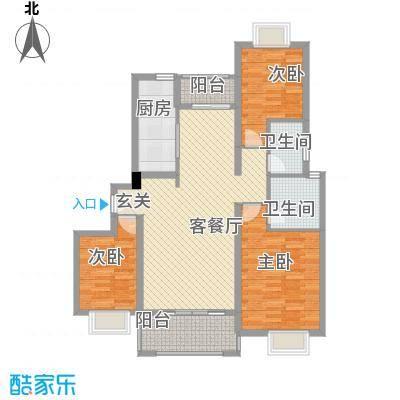 大云雅苑122.71㎡C2幢标准层02户型3室2厅2卫1厨