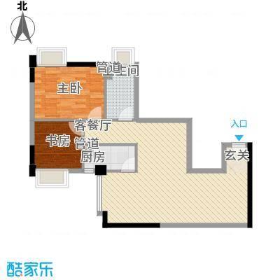 达兴豪苑4.42㎡1座1号户型2室2厅1卫1厨