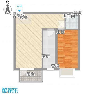 现代华城67.14㎡N3、N4户型1室2厅1卫1厨