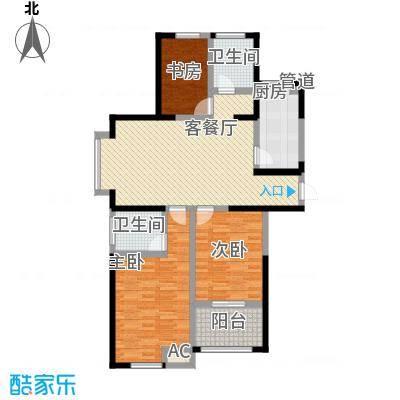 中江嘉城128.00㎡一期标准层B户型3室2厅2卫1厨