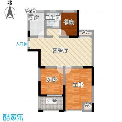 中江嘉城6.46㎡一期标准层D户型3室2厅1卫1厨