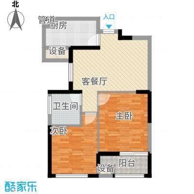 中江嘉城78.78㎡一期标准层G户型2室2厅1卫1厨