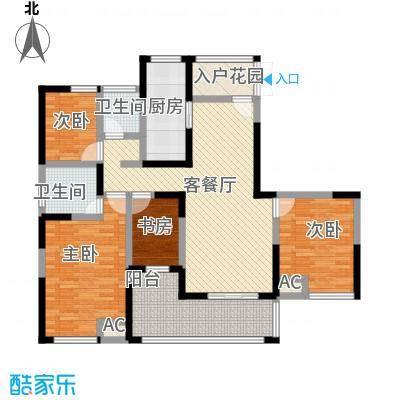 中江嘉城143.60㎡一期标准层A户型4室2厅2卫1厨