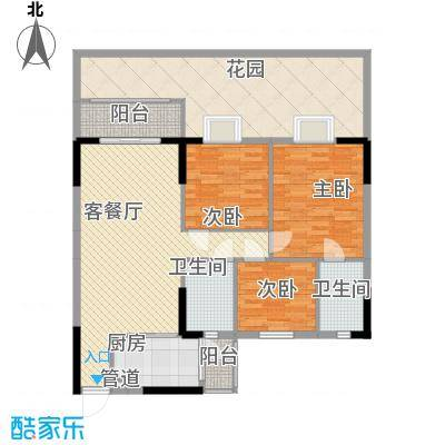 康格斯花园13.68㎡B1户型3室2厅2卫1厨