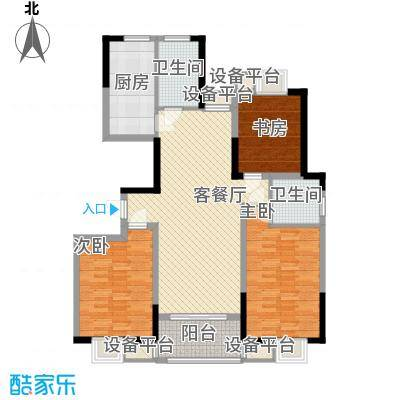 金都华府136.00㎡一期11号楼标准层C户型3室2厅1卫1厨