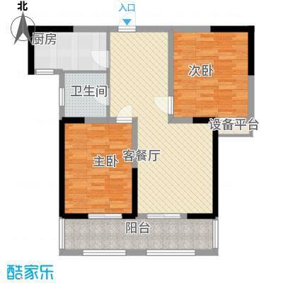 金都华府5.62㎡一期3、4号楼标准层F户型2室2厅1卫1厨