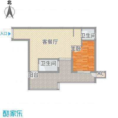 海滨花园74.54㎡1栋标准层L户型1室2厅1卫1厨