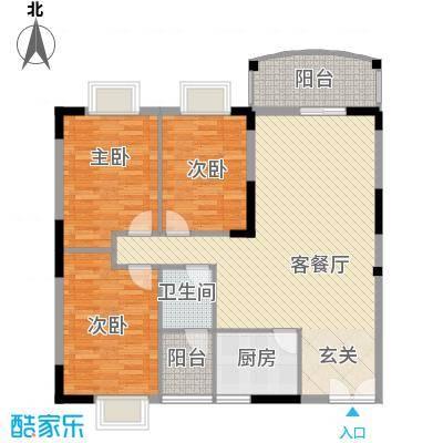 银城花园112.50㎡12幢01户型3室2厅1卫1厨