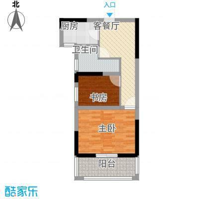 金都华府62.10㎡一期5-10号楼标准层H户型2室1厅1卫1厨