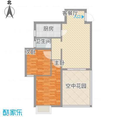 海滨花园86.84㎡1栋J标准层户型2室2厅1卫1厨