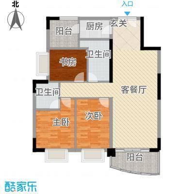 银城花园111.32㎡12幢04户型3室2厅2卫1厨