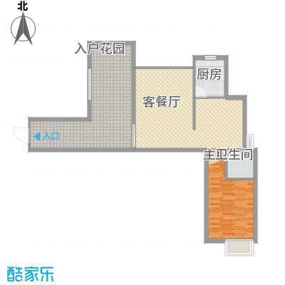 海滨花园82.74㎡1栋标准层K户型1室2厅1卫1厨