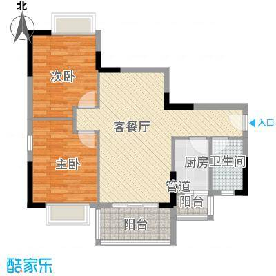 广物锦绣东方82.81㎡桂香居B、C栋03单元户型2室2厅2卫1厨