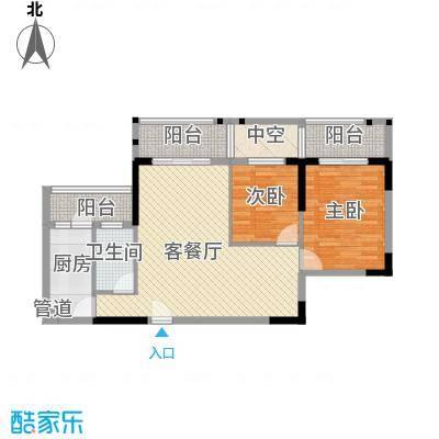 广物锦绣东方81.78㎡桂香居A、B、C栋06单位户型2室2厅2卫1厨