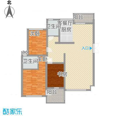 帝景传说124.70㎡C8标准层户型3室2厅1卫1厨