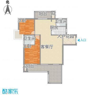 海滨花园16.30㎡1栋标准层M户型2室2厅2卫1厨