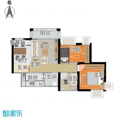 深业东城御园77.73㎡B6户型2室1厅
