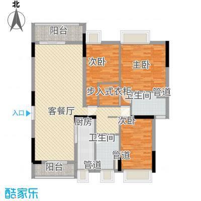金阳新世界花园123.30㎡B栋B4花园平墅户型3室2厅2卫1厨