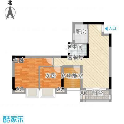 美的・时代城77.00㎡4栋03、04户型3室2厅1卫1厨