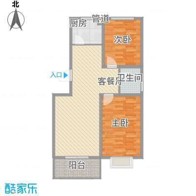 东润国际新城84.38㎡25号楼01户型2室2厅1卫1厨