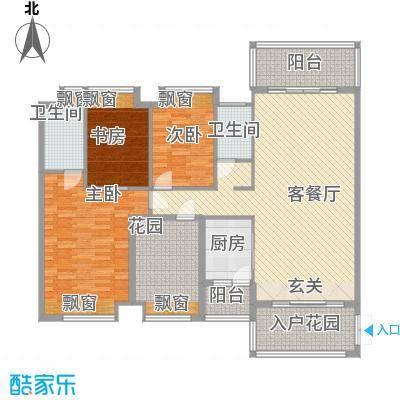 锦江国际新城138.00㎡15/16栋03单位户型4室2厅2卫1厨
