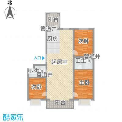 松浦观江国际114.66㎡D户型3室2厅2卫1厨