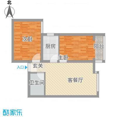 百花家园71.80㎡3#7户型2室2厅1卫1厨