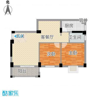 杏北新城锦园居住区84.35㎡S2型户型2室1厅1卫1厨