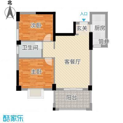 杏北新城锦园居住区65.00㎡Q2型户型2室1厅1卫1厨
