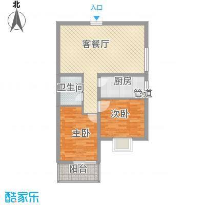 太原凤凰城86.56㎡5#东户型2室2厅1卫1厨