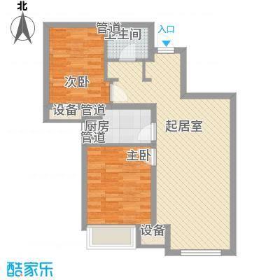 潮白河孔雀英国宫78.00㎡十期B区1#2#4#楼C2户型2室2厅1卫1厨
