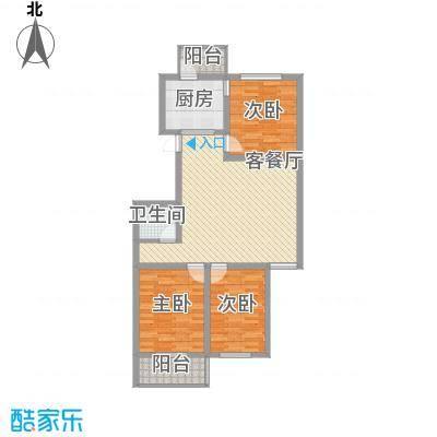 侨治花园1.17㎡4#楼B户型3室2厅1卫1厨