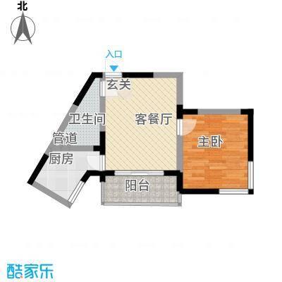 春江花园52.58㎡1#楼高层B户型1室1厅1卫1厨
