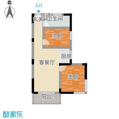 春江花园81.21㎡2、4#楼高层B户型2室2厅1卫1厨
