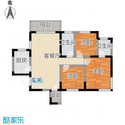 春江花园111.53㎡1#楼高层A户型3室2厅2卫1厨