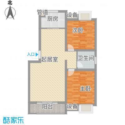 盛世家园78.60㎡13#M户型2室2厅1卫1厨